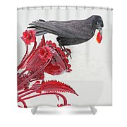 Black Bird Red Silicate Glass Flowers Gray Background 2 8282017  Shower Curtain