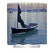 Black Boat And The Sunrise Shower Curtain