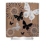 Black Butterflies Shower Curtain