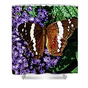 Black Butterfly On Heliotrope Shower Curtain