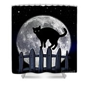 Black Cat And Full Moon 3 Shower Curtain