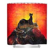 Black Cat. Mistress Of Diamond Mountain Shower Curtain