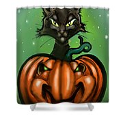 Black Cat N Pumpkin Shower Curtain