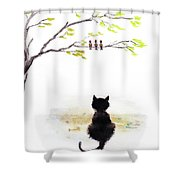 Black Cat Painting Shower Curtain