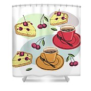 Black Cherry Pie And A Steaming Hot Cup Of Coffee Shower Curtain