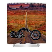 Black Chopper At Monument Valley Shower Curtain