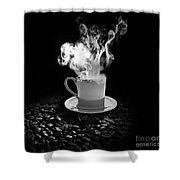 Black Coffee Shower Curtain by Stefano Senise