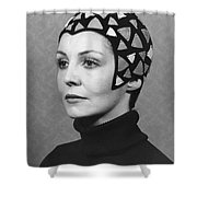 Black Felt Skull Cap Model Shower Curtain
