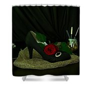 Black, Gold, And Shoe Shower Curtain