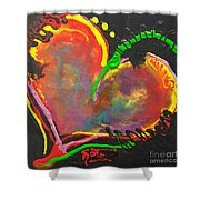 Abstract Multi Colored Heart Shower Curtain