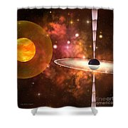 Black Hole Shower Curtain by Corey Ford