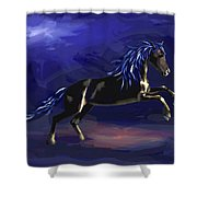 Black Horse At Night Shower Curtain