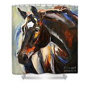 Black Horse Oil Painting Shower Curtain