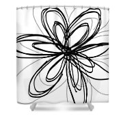 Black Ink Flower 1- Art By Linda Woods Shower Curtain