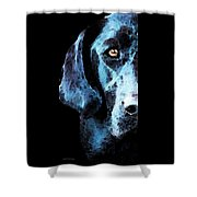 Black Labrador Retriever Dog Art - Hunter Shower Curtain by Sharon Cummings