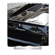 Black Lamborghini Sports Car  Shower Curtain