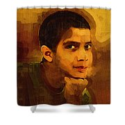 Young Black Male Teen 3 Shower Curtain