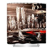 Black Manhattan Shower Curtain