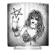 Black Metal Girl. Sofia Metal Queen. Sketch  Shower Curtain