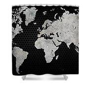 Black Metal Industrial World Map Shower Curtain