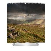 Black Mountains Light Rays Shower Curtain