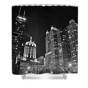 Black Night In The Windy City Shower Curtain