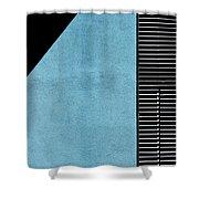 Black On Blue Shower Curtain