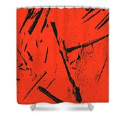 Black On Red Shower Curtain