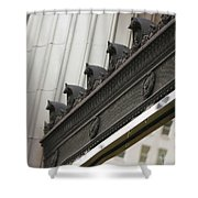 Black Ornate Trim On Marble White Building Shower Curtain