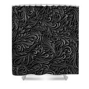 Black Paper Floral Seamless Pattern Shower Curtain