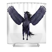 Black Pegasus On White Shower Curtain