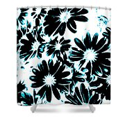 Black Petals With Sprinkles Of Teal Turquoise Shower Curtain