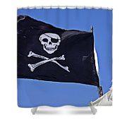 Black Pirate Flag  Shower Curtain