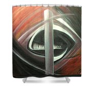 Black Red And White Abstract Shower Curtain
