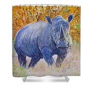 Black Rhino Is The Evening Sun Shower Curtain