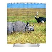 Black Rhinocerous Shower Curtain