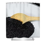 Black Rice Shower Curtain by Michael Tesar