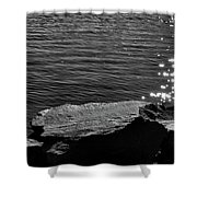Black Rock Blue Water Bw Shower Curtain
