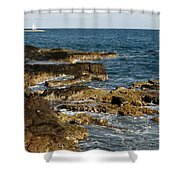 Black Rock Point And Sailboat Shower Curtain