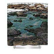 Black Rocks On Blue Water Shower Curtain
