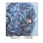 Black Russian Terrier In Snow Shower Curtain
