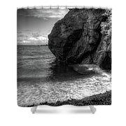 Black Sand Beach Shower Curtain by Break The Silhouette