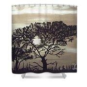 Black Silhouette Tree Shower Curtain