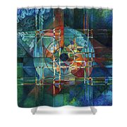 Black Sun Shower Curtain