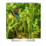 Black Swallowtail No. 2 Painterly Shower Curtain
