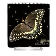Black Swallowtail On Black Shower Curtain