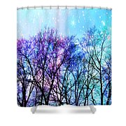 Black Trees Bright Pastel Space Shower Curtain