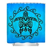 Black Tribal Turtle Shower Curtain