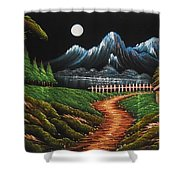 Night View With Full Moon Shower Curtain