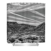 Black White Chem Trails Sky Overton Nevada  Shower Curtain
